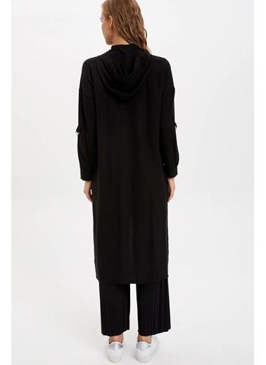 DeFacto Uzun Kollu 2 Cepli Tunik Siyah